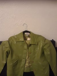 green leather button-up collared shirt Cheverly, 20785