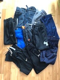 8 pair of under armour pants, 1 Nike and 2 old navy jeans. All size S and size 8  Barrie, L4N 8W5