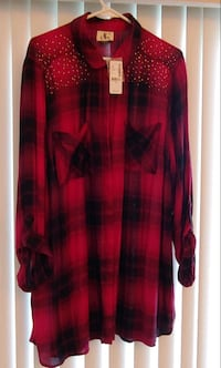 Women's fuchsia/red and black checkered top with studding detail. North Vancouver, V7L 2C9