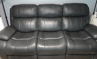 Gray Leather Recliner Sofa