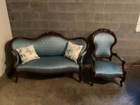 Vintage victorian sofa and matching chair