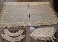 2 Panels of Vintage Protela Ruffled Lace Priscilla Curtains w/ Matching Tablecloth Queen Creek