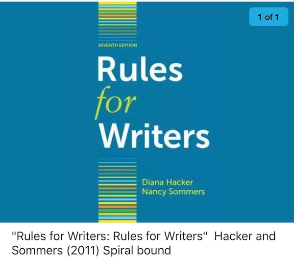 Rules for writers: rules for writers by diana hacker and nancy.