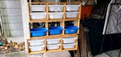 3 sets of cubby shelves