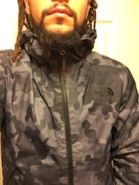 North Face Jacket-Waterproof/Black and Blue Camouflage Manassas, 20110