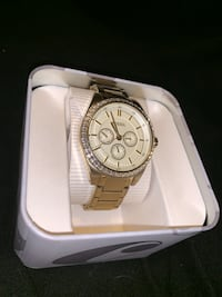 round silver chronograph watch with silver link bracelet Annapolis, 21401
