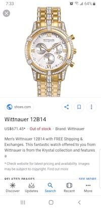 Wittnauer mens watch yellow gold sapphire crystals Edmonton, T5A 1R5