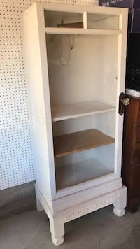 White shabby chic wooden display cabinet - glass door front and electric interior light Redwood City
