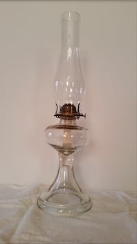 Antique Clear glass and brass oil lamp