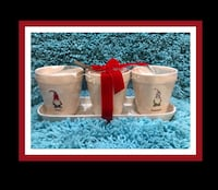 "Brand New..Rae Dunn ""Magic"" ""Merry"" & ""Mischief"" Gnomes..Set of 3 Flower Pot/Planters W/Tray ***Christmas*** HTF Virginia Beach, 23451"