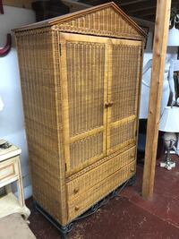 VINTAGE RATAN RATTAN BAMBOO HAWAIIAN CLOSET AMOIRE DRESSER ADDRESS IN AD Los Angeles, 90032