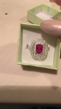 Women's silver with ruby gemstone ring with box