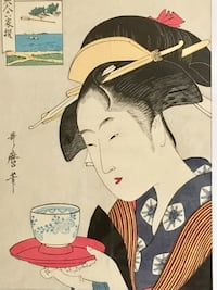 (2) GENUINE WOOD BLOCK ART .  Kitagawa Utamaro Japanese wood block artwork. Woman with reflection in the Mirror. And woman with teacup. Both In mint unwrapped condition. $350 each New York, 11229