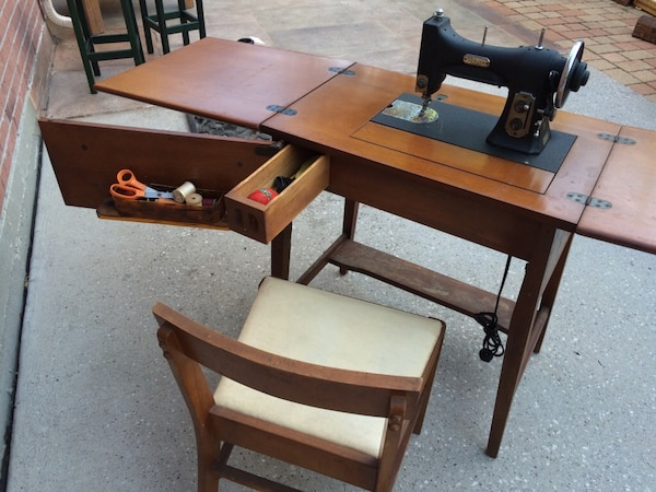 Antique Electric Sewing Table & Chair (folds into desk) - Used Antique Electric Sewing Table & Chair (folds Into Desk) For
