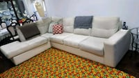 white fabric sectional sofa with throw pillows Toronto, M9L 2N8