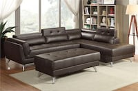 New Sectional with adjustable headrest. Espresso Leather. Free Delivery ! Buena Park