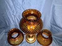 Antique Hobnail Amber Glass Lamp Plymouth Meeting