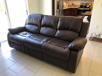 brown leather 3-seat recliner sofa Homestead, 33033