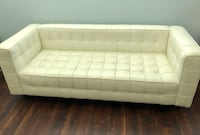 White leather button couch sofa wooden brown legs Sandy Springs, 30328