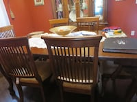 rectangular brow wooden dining set with six chairs WOODBRIDGE
