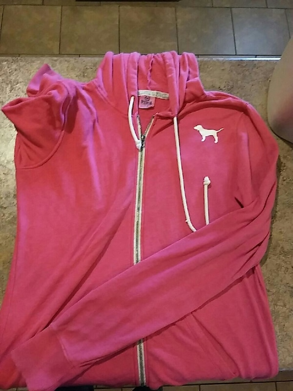 pink and white Adidas zip-up jacket
