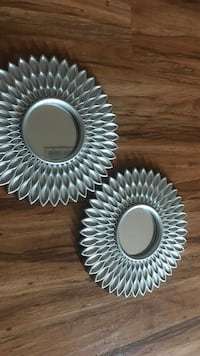 two round gray metal framed mirrors Rialto, 92376