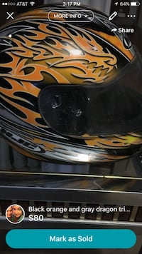 Yellow and black HJC dragon print full face helmet 34 km
