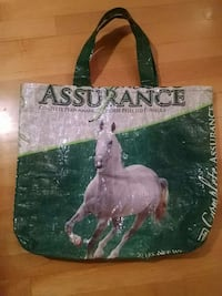 Horse feed bag made into a tote bag