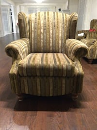 brown and gray striped sofa chair Vaughan