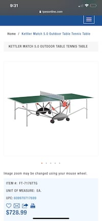 Kettler match 5.0 outdoor ping pong table Spring Hill, 34608
