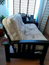 brown wooden framed white padded armchair Surrey, V3W 1L1
