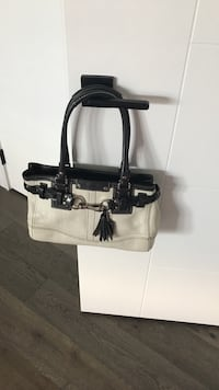 Black and white leather tote bag coach bag