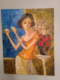 Woman with flute painting