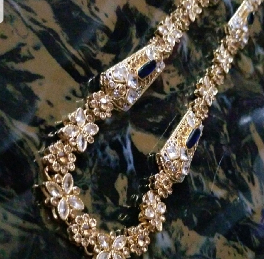 Photo Gold plated long custom-made gold plated necklace with sapphire