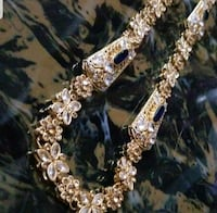 Gold plated long custom-made gold plated necklace with sapphire  Alexandria, 22304