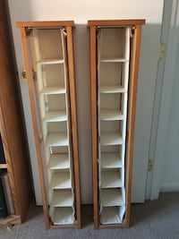 Two white wooden shelves.  CD Racks: 46 in High, 8.5 in Wide, 8 in D