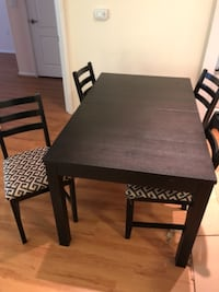 rectangular brown wooden table with four chairs dining set Los Angeles