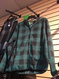 black and blue plaid zip-up hooded jacket