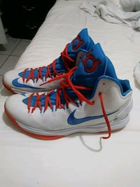 blue-and-white Nike basketball shoes