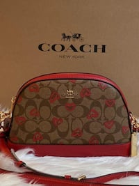 Coach Dome Crossbody in Signature Canvas with Crayon Hearts Print