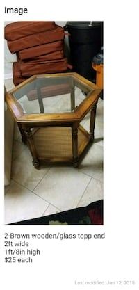 brown wooden framed glass top side table College Park, 20740