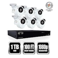 1 x 8 Channel 1080p DVR with pre-installed 1 TB Hard Drive. 6 x Indoor/Outdoor 1080p Wired Infrared Cameras Backwards Compatible DVR- Compatible with both Night Owl HD analog and industry standard analog BNC cameras View & Play back footage directly from  Mississauga