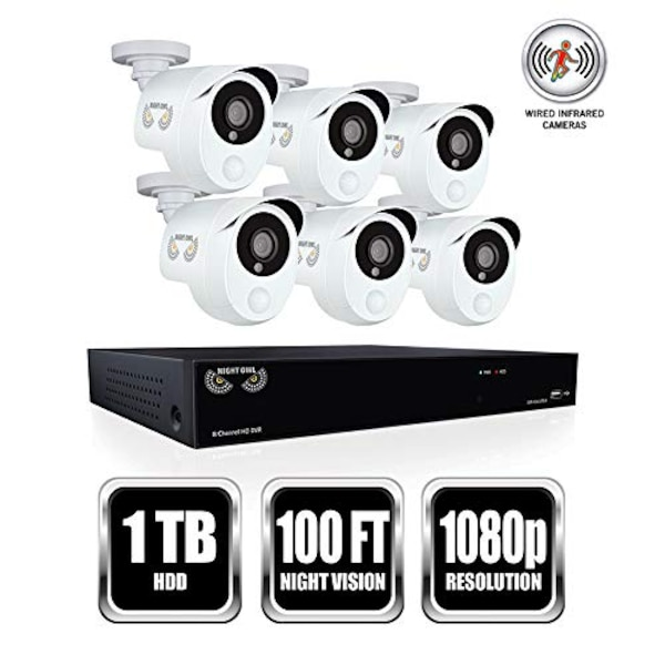 1 x 8 Channel 1080p DVR with pre-installed 1 TB Hard Drive. 6 x Indoor/Outdoor 1080p Wired Infrared Cameras Backwards Compatible DVR- Compatible with both Night Owl HD analog and industry standard analog BNC cameras View & Play back footage directly from