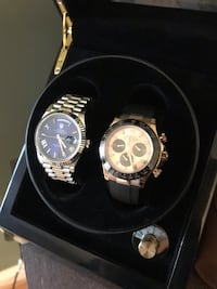 two round silver chronograph watches with link bracelets Washington Grove, 20880