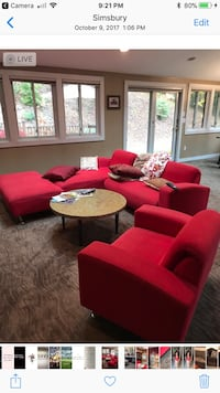 Rockin red sofa sectional and ottoman