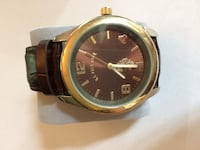 Men's US Polo Assn brown face and gold trim with brown leather band York, 29745