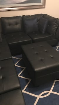 black leather tufted sectional sofa Houston, 77057