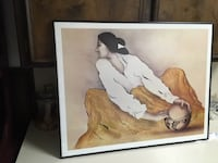 brown wooden framed painting of woman LUBBOCK