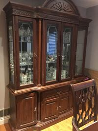 Brown wooden framed glass china cabinet, table and 6 chairs Mississauga, L5B
