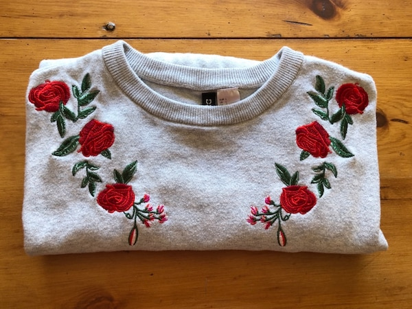 Women's gray floral embroidery sweater